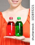 portrait of woman with bottle... | Shutterstock . vector #102855221