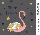 my princess flamingo vector... | Shutterstock .eps vector #1028560054