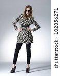 fashion model in sunglasses.... | Shutterstock . vector #102856271