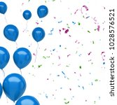 blue baloons on the left sight... | Shutterstock . vector #1028576521