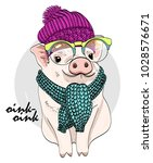 vector pig with glasses ... | Shutterstock .eps vector #1028576671