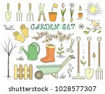 colorful hand drawn spring... | Shutterstock . vector #1028577307
