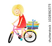 little girl books and bicycle... | Shutterstock .eps vector #1028582575