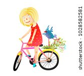 girl and birdie riding bicycle... | Shutterstock .eps vector #1028582581