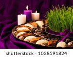 novruz copper tray plate with... | Shutterstock . vector #1028591824