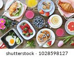 Breakfast Food Table. Festive...