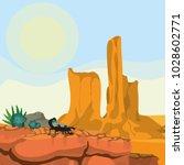 desert landscape cartoon | Shutterstock .eps vector #1028602771