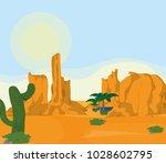desert landscape cartoon | Shutterstock .eps vector #1028602795