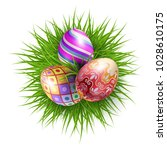 three brightly colored easter... | Shutterstock .eps vector #1028610175