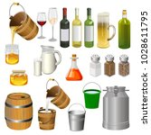 vector set of various bottles ... | Shutterstock .eps vector #1028611795