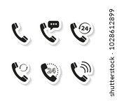 set of handset stickers icons