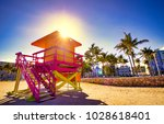 miami beach lifeguard stand | Shutterstock . vector #1028618401