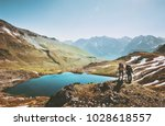 couple backpackers hiking in... | Shutterstock . vector #1028618557