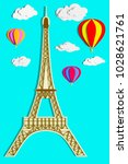 hot air balloons and paris...   Shutterstock . vector #1028621761