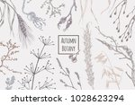 autumn plants   hand drawn with ... | Shutterstock .eps vector #1028623294