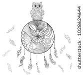 dreamcatcher with owl.... | Shutterstock .eps vector #1028624644