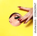 a girl with beautiful long...   Shutterstock . vector #1028628967