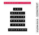 embossed letters tape font.... | Shutterstock .eps vector #1028629837