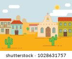 mexican city in the desert.... | Shutterstock .eps vector #1028631757