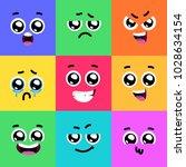 set of emoticons or emoji... | Shutterstock .eps vector #1028634154