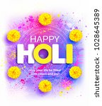 happy holi background with... | Shutterstock .eps vector #1028645389