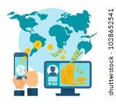 money transfer using mobile... | Shutterstock .eps vector #1028652541