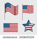usa emblems set patriotic symbol | Shutterstock .eps vector #1028655235