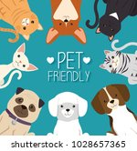dogs and cats pets friendly | Shutterstock .eps vector #1028657365