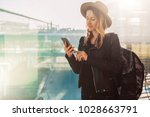 young tourist woman in hat ... | Shutterstock . vector #1028663791