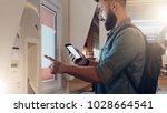 summer night. young hipster man ... | Shutterstock . vector #1028664541