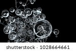 3d molecules or atoms on black... | Shutterstock . vector #1028664661