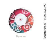 paper cut gear abstract design. ... | Shutterstock .eps vector #1028668897