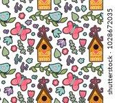 seamless spring ornate vector... | Shutterstock .eps vector #1028672035