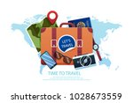 travel background in flat style   Shutterstock .eps vector #1028673559