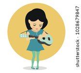 cute little girl plays guitar ... | Shutterstock .eps vector #1028679847