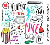 hand drawn set of cute doodle... | Shutterstock .eps vector #1028680261
