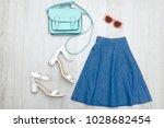 jeans skirt  glasses  white... | Shutterstock . vector #1028682454