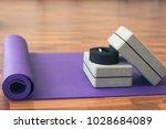 purple yoga mat  grey blocks... | Shutterstock . vector #1028684089