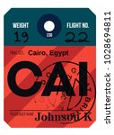 cairo airport luggage tag....   Shutterstock .eps vector #1028694811
