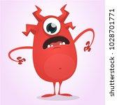 scared cartoon one eyed monster.... | Shutterstock .eps vector #1028701771
