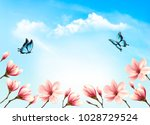 Stock vector nature spring background with beautiful magnolia branches on blue sky vector 1028729524