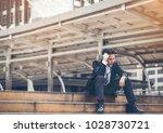 business man failed to feeling... | Shutterstock . vector #1028730721