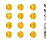 cryptocurrency golden coins | Shutterstock .eps vector #1028735005