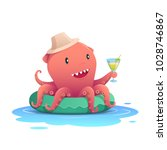 cute red octopus holding a... | Shutterstock .eps vector #1028746867