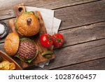 tasty grilled home made burgers ... | Shutterstock . vector #1028760457
