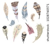 tribal feathers vector set ...   Shutterstock .eps vector #1028760571