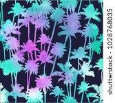 vector palm trees seamless...   Shutterstock .eps vector #1028768035