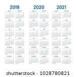 year 2019 2020 2021 calendar... | Shutterstock .eps vector #1028780821