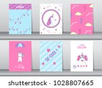 set of cute fantasy poster... | Shutterstock .eps vector #1028807665