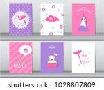 set of cute fantasy poster... | Shutterstock .eps vector #1028807809